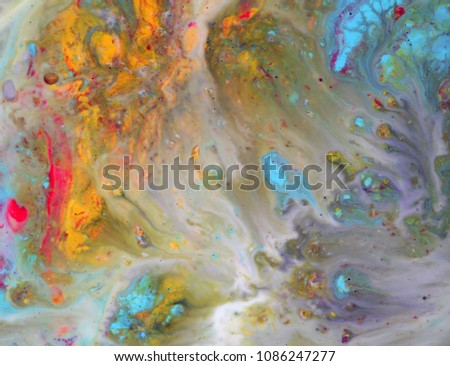 Colorful blots. Abstract background. Marble texture. Acrylic colors. #1086247277