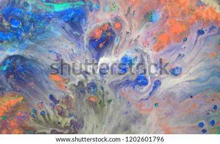 Colorful blots. Abstract background. Marble texture. Acrylic colors. #1202601796