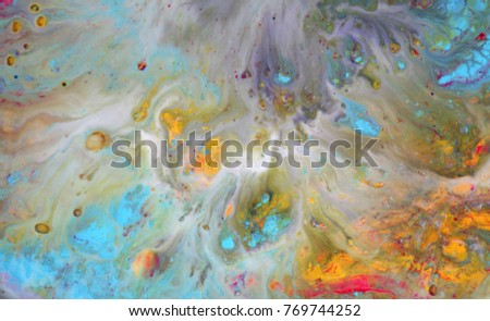 Colorful blots. Abstract background. Marble texture. Acrylic colors. #769744252