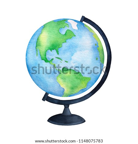 Colorful blue and green terrestrial globe on black base. One single object, side view. Hand painted water color graphic drawing on white background, cut out clipart emblem for design and decoration.