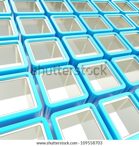 Colorful blue and metal chrome glossy cube cell composition as abstract background