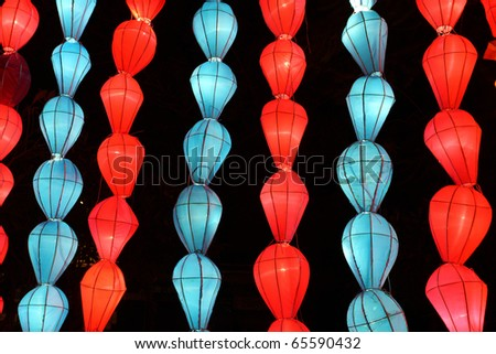 colorful blue red lantern with night scene