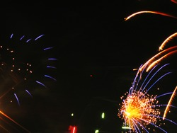 Colorful blue yellow firework photo summer celebration