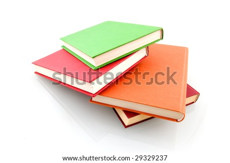 Colorful book stack isolated on white background