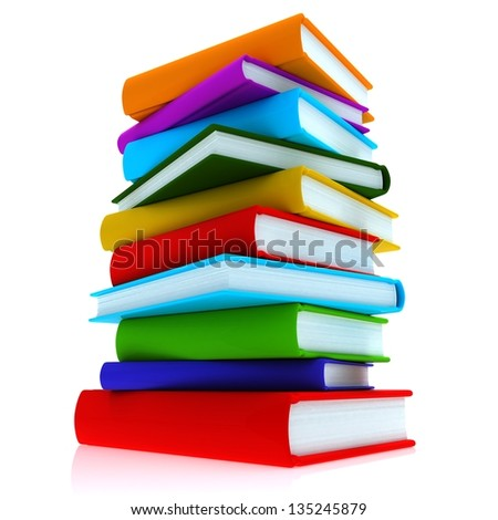 Colorful books. A stack of colorful books, close-up on a white background.