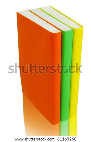 Colorful books on white background isolated