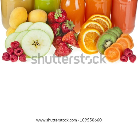 Colorful Bottles juice with fresh berries and fruits isolated on white