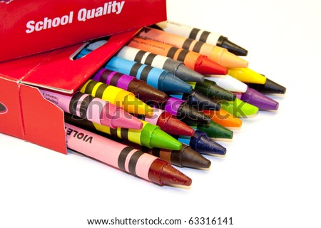 colorful box of school  children's crayons