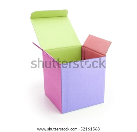 Colorful box with lid open isolated on white