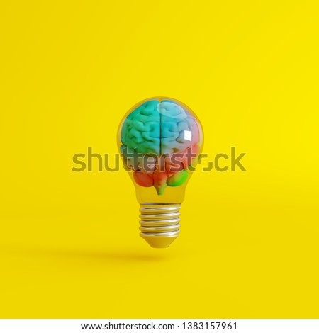 Colorful brain with a lightbulb on yellow background. Creative idea. Minimal concept. 3d rendering