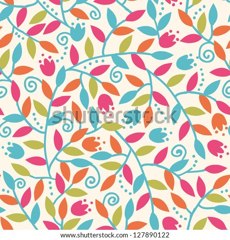 Colorful Branches Seamless Pattern Background raster