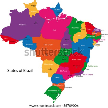 stock photo : Colorful Brazil map with states and capital cities