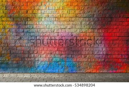 Colorful brick wall background #534898204