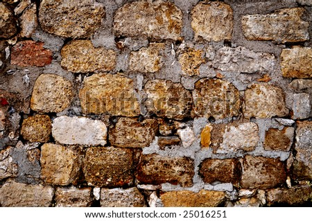 Colorful brick wall with the grunge effect