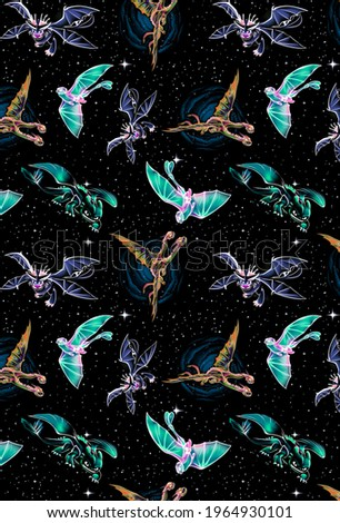 Colorful bright dragons on a starry background, for textiles, children's clothing, print for fabric, bed linen, watercolor dragons, pattern, seamless background, art.