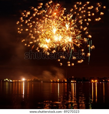 Colorful bright firework in a night sky