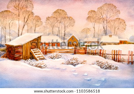 Colorful bright hand drawn watercolour sketch on paper backdrop with space for text on pink sundown sky. Antique rime shack scene in snowy hamlet street in quiet frosty hoarfrost wintertime xmas day