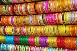 Colorful bright Indian bangles at a street side shop