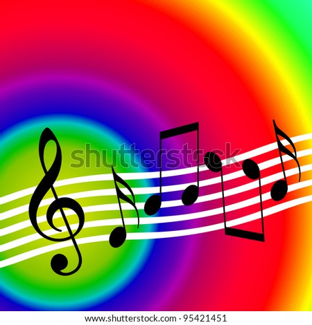 Colorful bright music background with random musical notes