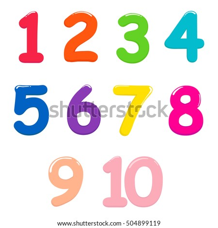 Colorful bright numbers for children from one to ten #504899119