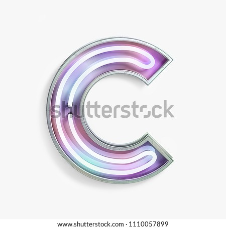 Colorful Bright Vivid Neon Font with fluorescent tubes. Letter C. Night Show Alphabet. 3d Rendering Isolated on White Background.