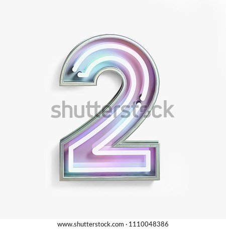 Colorful Bright Vivid Neon Font with Fluorescent Tubes. Number 2. Night Show Alphabet. 3d Rendering Isolated on White background.