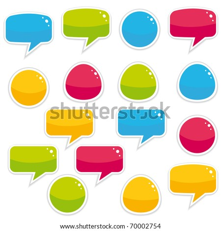 Colorful bubbles and labels collection - stock photo