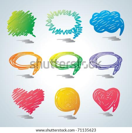 Colorful bubbles for speech. Doodle background.