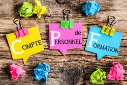 Colorful bubbles shaped paper with the French acronym word
