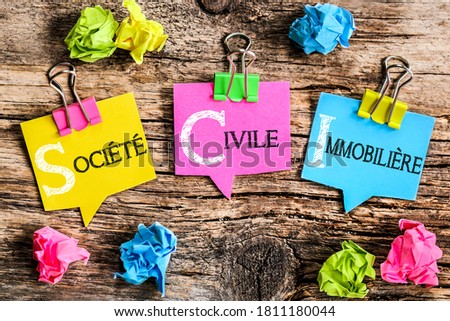 Colorful bubbles shaped paper with the French acronym word  'Société Civile Immobilière' means Real Estate Company Photo stock ©
