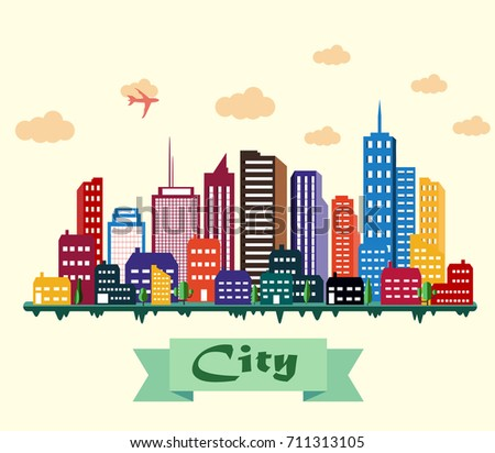 Colorful building and city background