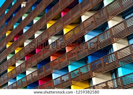 Colorful building, Colorful pattern background. #1259382580