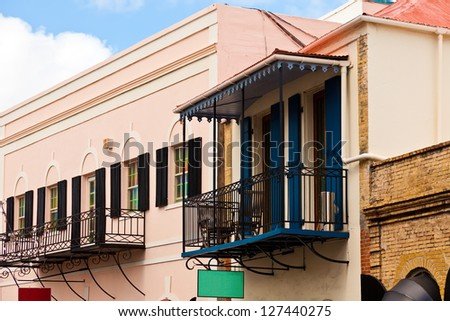 Colorful building exteriors, part of the Caribbean culture