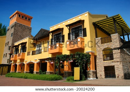 colorful building, low angle