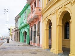Colorful buildings along the Malecon avenue in Havana
