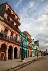 Colorful buildings and historic colonial architecture on Paseo del Prado, downtown Havana, Cuba.