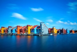 colorful buildings at Reitdiephaven on water in Groningen, Netherlands