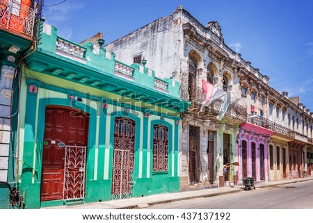 colorful buildings in havana ...