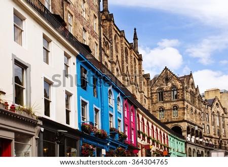 stock photo colorful buildings in victoria street old town edinburgh scotland 364304765 - Каталог — Фотообои «Улицы, переулки»