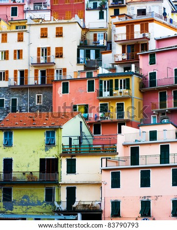 Colorful Buildings of Corniglia village. Cinque Terre, Italy.