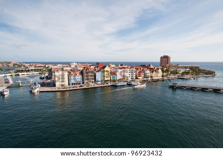 Colorful buildings of Willemstad, Curacao, Netherlands Antilles