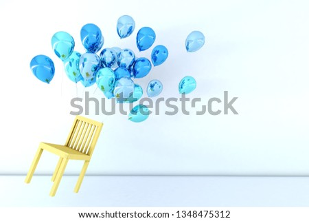 Colorful Bunch of Birthday Balloons Flying for Party and Celebrations With Space for Message Isolated in White Background. 3D render for birthday, party, #1348475312