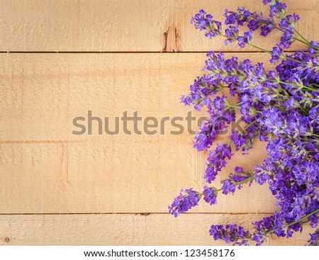 Colorful Bunch of Fragrant Lavender Flowers on Wood Background with Copyspace, Horizontal that can be Vertical