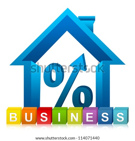 Colorful Business Cube Box And 3D Percentage With Arrow Head Inside The House For Real Estate Business Isolated on White Background