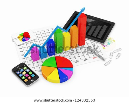 Colorful Business Graph with Pie Chart, Tablet PC and Touchscreen Smartphone isolated on white background