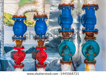 Colorful butt weld valves, check valves, close up #1445068721