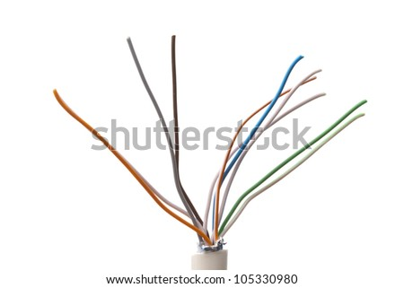 Colorful cable closeup on white background