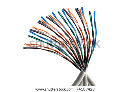 Colorful cables closeup on white background