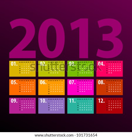 colorful 2013 calendar design on dark background - week starts with sunday