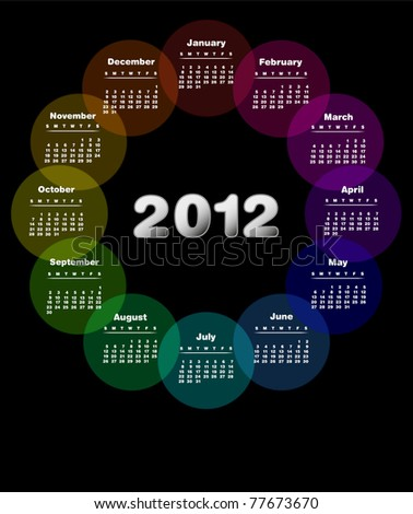 Colorful calendar for 2012. Week starts on sunday - Also available in Spanish . Also available as vector